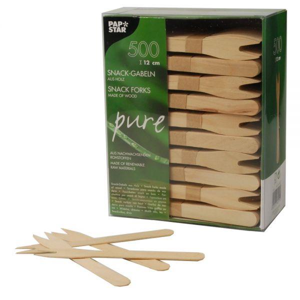 """Snack-Gabeln - Holz """"pure"""" - 12,1 cm (8 x 500 Stück)"""