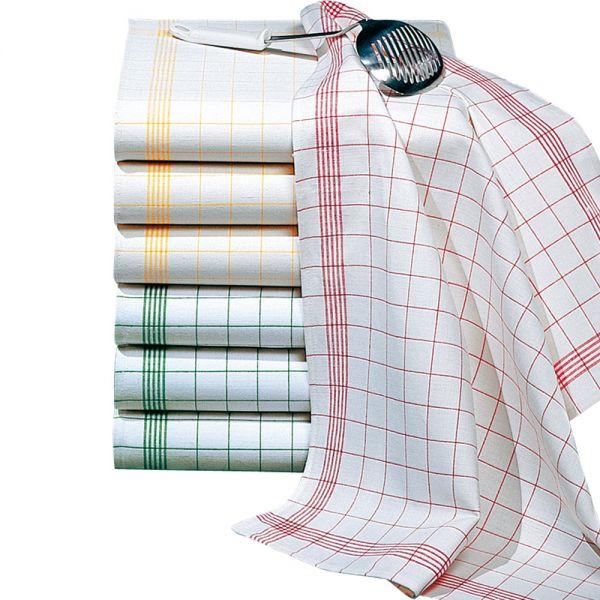 Geschirr- & Gläsertuch 70 x 50 cm - Grün-Weiß (Halbleinen)