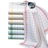 Geschirr- & Gläsertuch 70 x 50 cm - Rot-Weiß (Halbleinen) href=